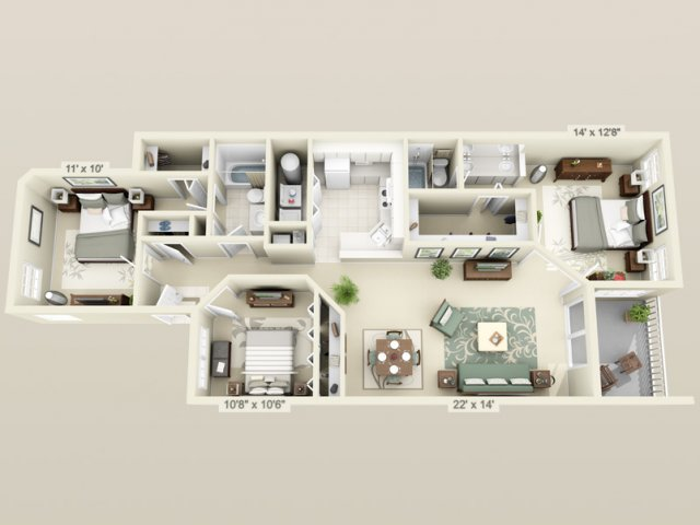 Hunters crossing apartments in gainesville close to uf - 3 bedroom apartments in gainesville fl ...